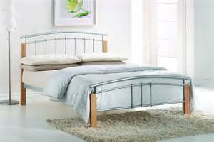 Bed Frame Wood Or Metal Tetras 4ft Small Silver Metal And Wood Bed Frame