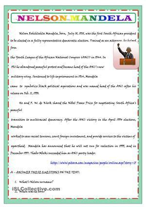 nelson mandela biography in simple english nelson mandela s biography for kids worksheet free esl