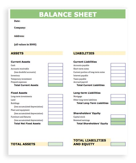 blank balance sheet template for employment verification