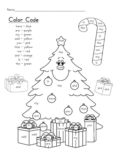 christmas coloring pages with words christmas tree sight words scribd classroom ideas