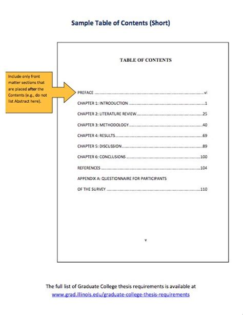 table  contents templates  examples template lab