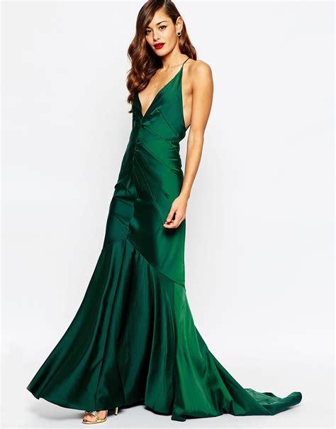Greeny Maxi Dress lyst asos carpet plunge soft fishtail maxi