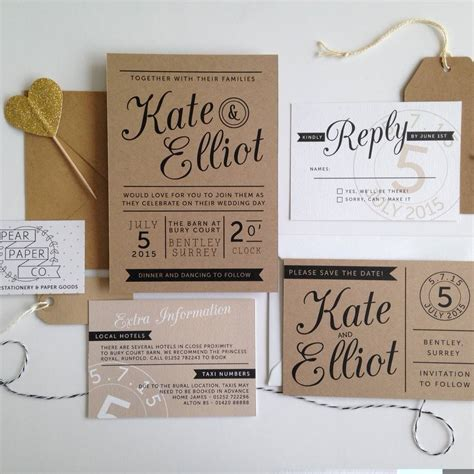 reception card template brown paper kraft st wedding invitation by pear paper co