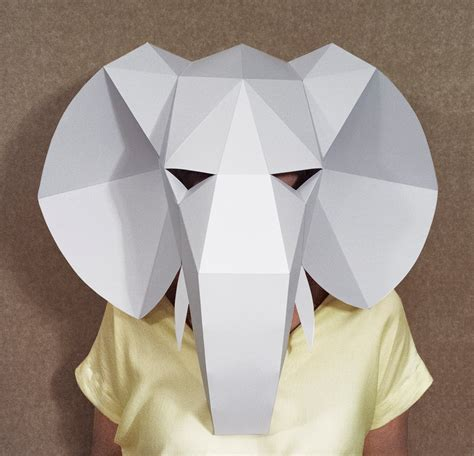 A Paper Mask - elephant mask diy paper creation pdf pattern by