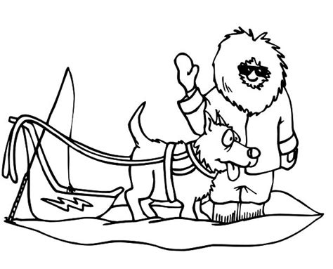 dog team coloring page winter season coloring page kids having fun sled dog dog