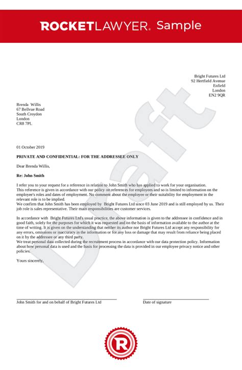 reference letter uk template