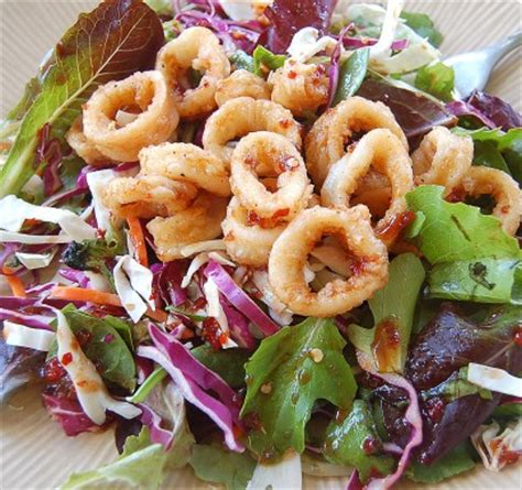 fried calamari salad asian salad with fried calamari tasty kitchen a happy