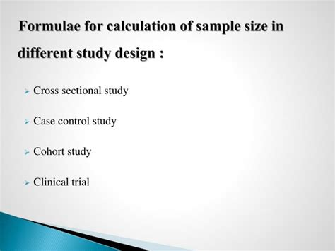 sle size calculation for cross sectional design ppt sle size estimation powerpoint presentation id