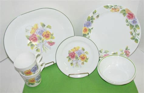 corelle flower pattern vintage corelle pansy dinnerware summer blush by