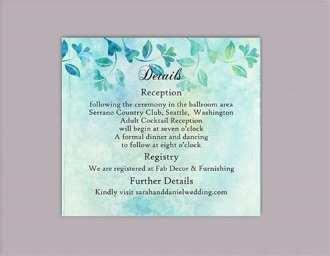 Florist Enclosure Card Template by Diy Rustic Wedding Details Card Template Editable Word