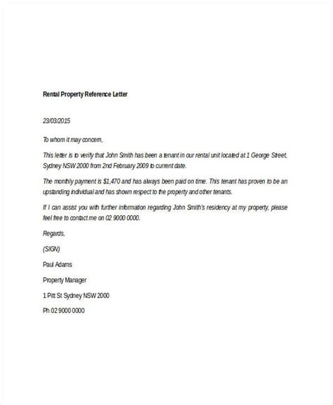 Letter For Rent Property 9 Rental Reference Letter Template Free Word Pdf