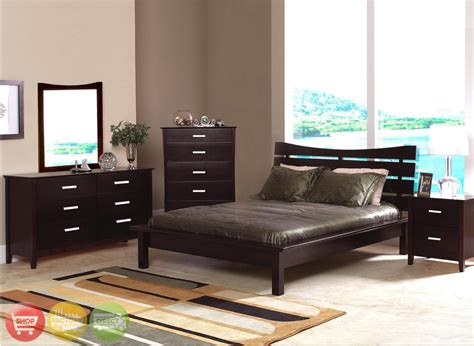 modern queen bedroom sets modern queen cappuccino finish bedroom furniture set