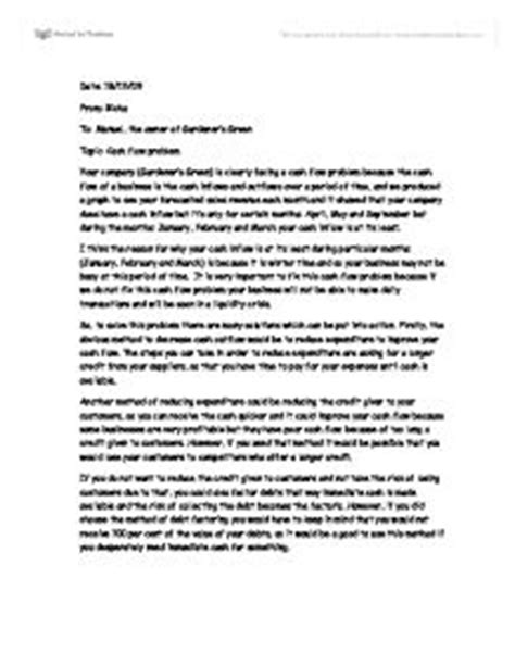 Finance Problem Letter Flow Problem Creative Letter Gcse Business Studies Marked By Teachers