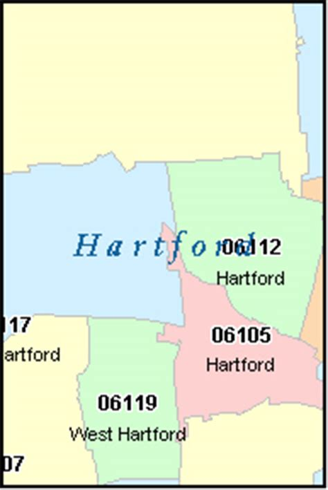 zip code map ct hartford county connecticut digital zip code map