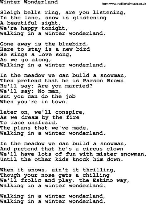 printable lyrics winter wonderland willie nelson song winter wonderland lyrics