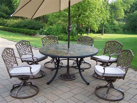 "Oakland Living Patio Dining set w/ 54"" Stone Topped table"