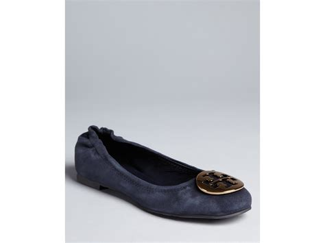burch shoes flats burch reva ballet flats in brown bright navy lyst