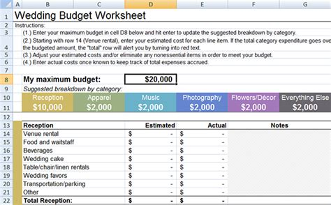how to make a wedding budget in excel wedding budget worksheet wedding guide