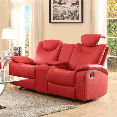 red leather reclining loveseat homelegance talbot double reclining loveseat in red