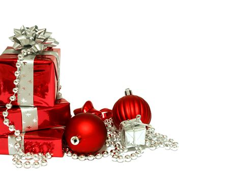 red christmas decorations and gifts on christmas white