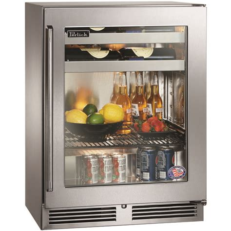 glass door wine beverage center perlick hh24bs 3 3r 18 quot depth signature series sottile