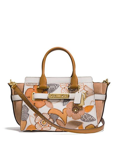 Coach Swagger Patchwork Size 27 coach swagger 27 with floral colorblock patchwork tote belk