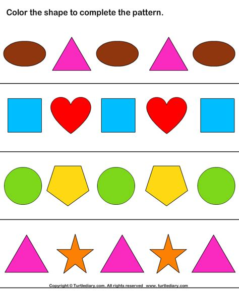 patterns with shapes and pictures worksheets geometry worksheets complete the shape pattern 10