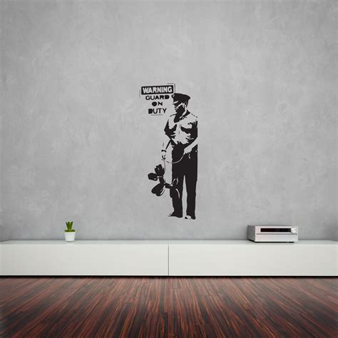banksy guard on duty vinyl wall decal for home decor