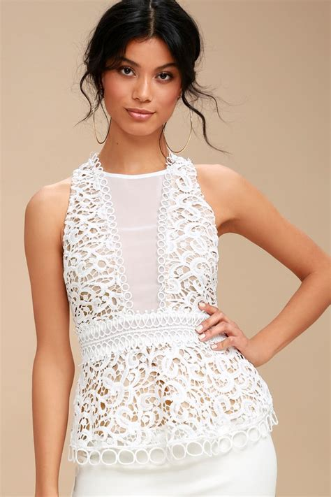 pretty lace top white top sleeveless top lace blouse