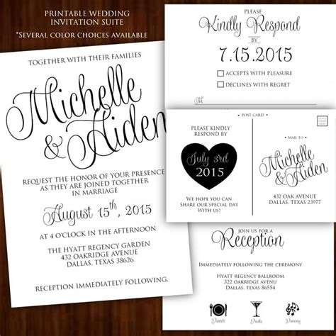 Wedding Invitations Black And White by Printable Wedding Invitation Calligraphy Wedding