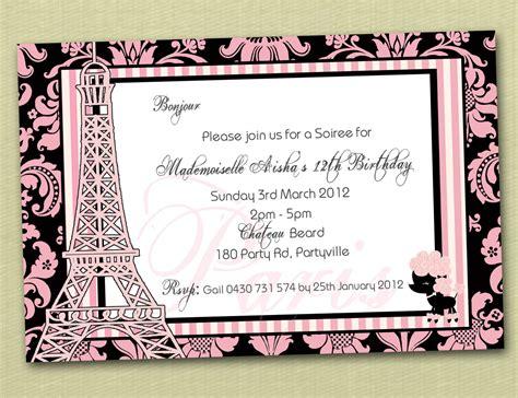 paris themed birthday invitations paris themed personalised birthday invitation you print