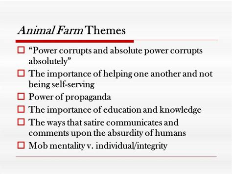 Themes And Exles In Animal Farm | allegory a story in which the characters and events are