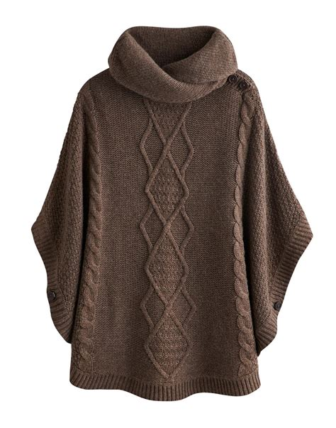 knitted poncho joules womens knitted cape brown marl combat the cold