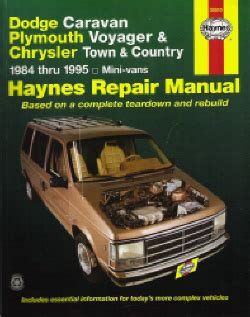 free auto repair manuals 1993 chrysler town country engine control 1984 1995 chrysler caravan voyager town country haynes repair manual