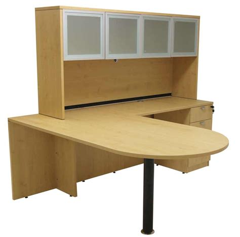 maple peninsula u shaped workstation with hutch