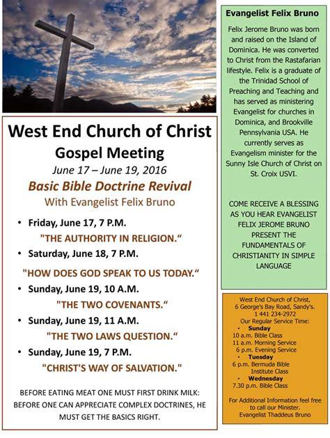 gospel meeting flyer template west end church of s gospel meeting bernews bernews