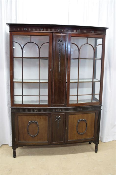 edwardian mahogany bow fronted display cabinet for sale