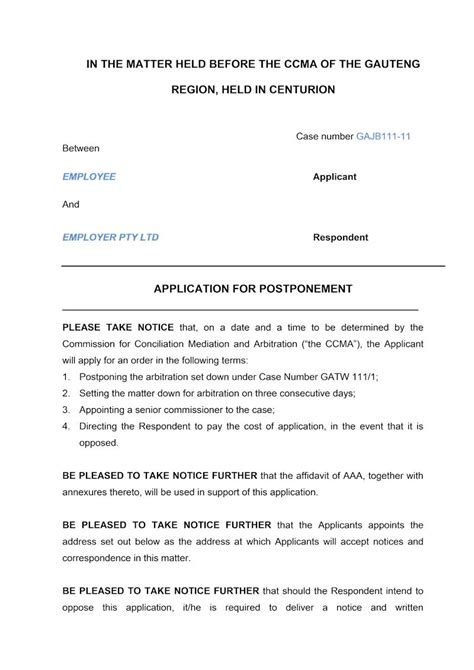 Transfer Postpone Letter notice of motion postponement document labour south africa
