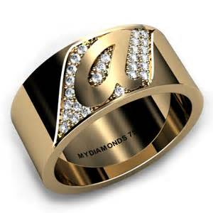 torino yellow gold gents ring add your initial