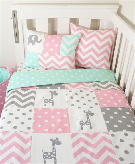 Patchwork Nursery - pink grey and mint giraffe patchwork nursery items mint spot