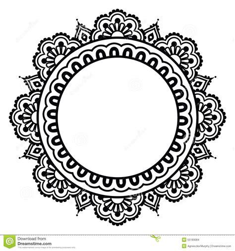 black and white round pattern indian henna floral tattoo round pattern mehndi stock