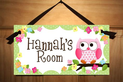 baby name signs for bedrooms door sign owls love flowers girls bedroom and baby nursery