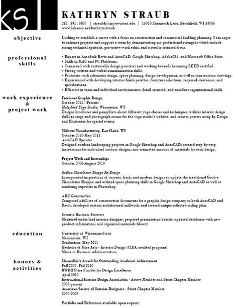 Free Resume Sles For Interior Designer Resume On Behance