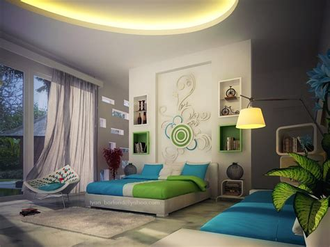 green feature wall bedroom green blue white contemporary bedroom decor interior