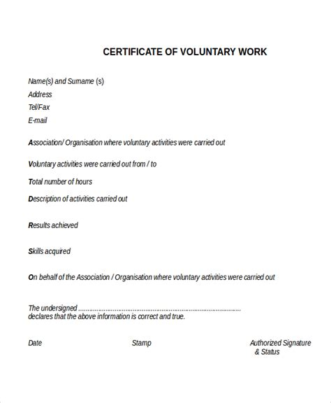 certification letter for volunteer work 16 work experience certificate templates free pdf word