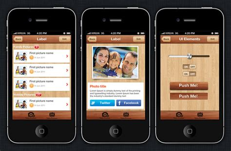 image gallery iphone app design template