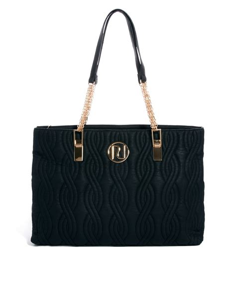 river island river island large black quilted tote bag