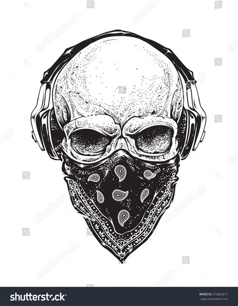dotwork styled skull headphones bandana vector stock