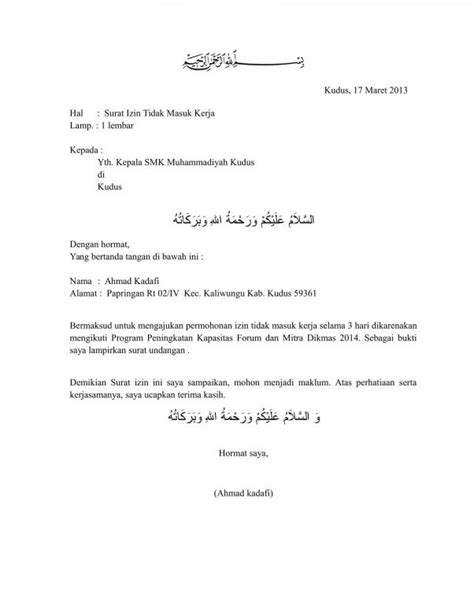 Contoh Surat Izin Tidak Masuk Kantor by 9 Contoh Surat Izin Tidak Masuk Sekolah Kuliah Kerja