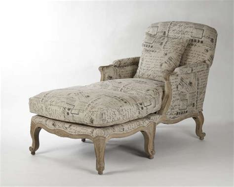 country french ottomans french country literary script linen club chair ottoman